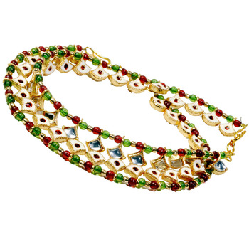 Meenakari Design Colourful Kundan Brass Payal Anklet
