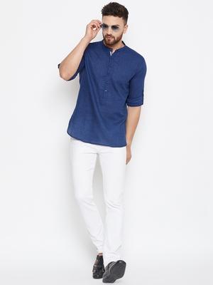 blue woven cotton men kurtas