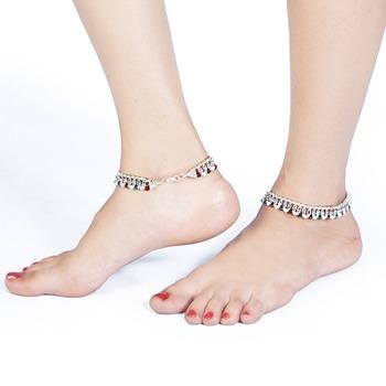 Fashionable Design brownGreen Beads Brass Payal