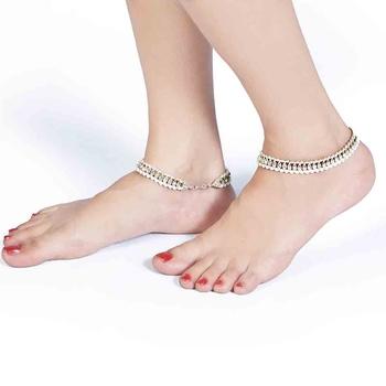 White Pearls n Shiny American Diamonds Brass Payal