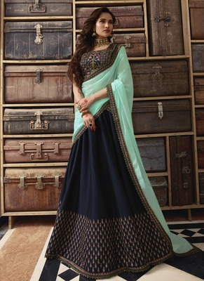 Navy Blue Heavy Zari Resham Embroidery Semi-Stitch Bridal Lehenga
