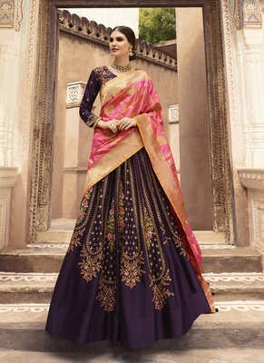 Wine Color Tafeta Silk Heavy Embroidery with Zari work Semi-Stitch Lehenga and Double combination of Dupatta