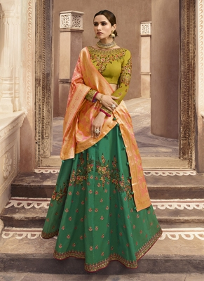 Green Color Tafeta Silk Heavy Embroidery with Zari work Semi-Stitch Lehenga and Double combination of Dupatta