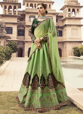 Green Color Barfi Silk Heavy Embroidery with Zari work Semi-Stitch Lehenga and Double combination of Dupatta