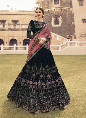Navy Blue Color Velvet Heavy Embroidery Resham and Zari Work Semi-Stitch Lehenga with Net Dupatta