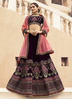 Dark Wine Color Velvet Heavy Embroidery Resham and Zari Work Semi-Stitch Lehenga with Net Dupatta