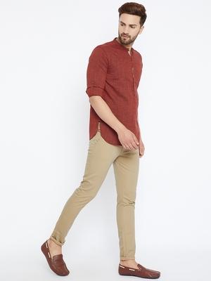maroon woven cotton men kurtas