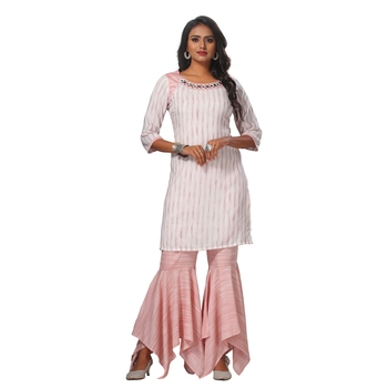 Women's Pink Striped Kurta and Sarara Rayon Stitched Sharara