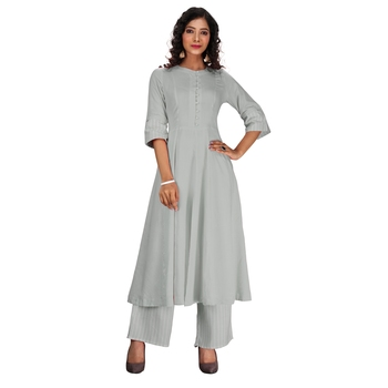 Women's grey rayon Stitched Suit