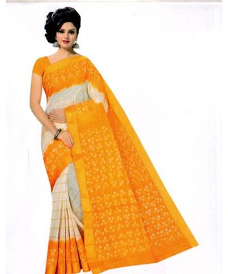 multicolor hand woven cotton saree with blouse