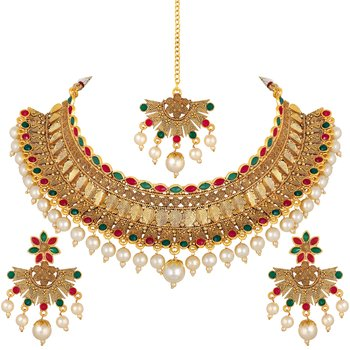 wedding wear Designer Gold Plated multi color Choker Style Necklace Set for Women