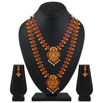 Ethnic Matinee Style Gold plated Temple Necklace set for women