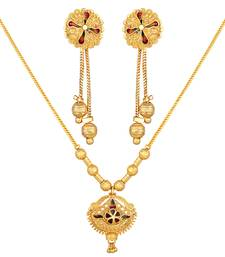 Asmitta Traditional 1 Gram Gold Plated Matinee Style Pendant Set For Women