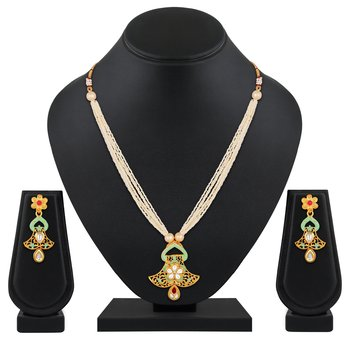 Stylish Gold Plated Matinee Style Kundan And Beads Necklace Set For Women