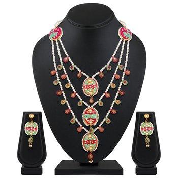 Peacock Inspired Meenakari Three Layer Pearls Beaded Necklace set for women