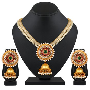 Alluring Gold plated Pearls Studded Necklace set for women