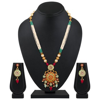 Designer Gold Plated Matinee style Pearls Studded Necklace set for women
