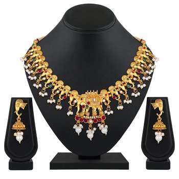 Traditional Gold plated Elephant Design choker style Necklace set for women
