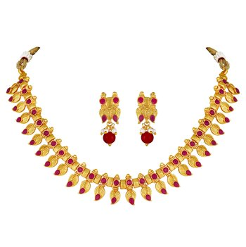Wedding Traditional Gold plated Choker Necklace Set for women