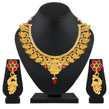 Traditional Wedding wear Gold Plated Temple Necklace set for women