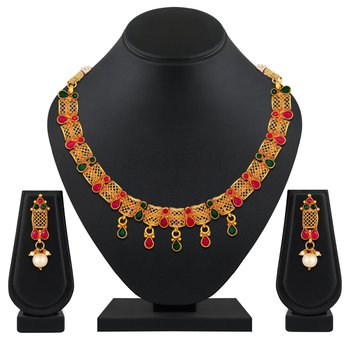 Designer Festive wear choker style gold plated Necklace set for women