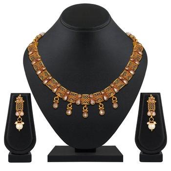 wedding wear Designer Gold Plated Choker Style Necklace Set For Women