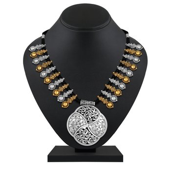 Traditional Rope Style oxidised Gold and Silver plated Necklace for women