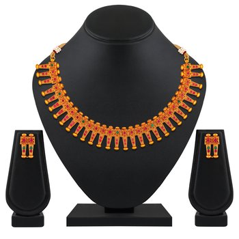 Ethnic wedding Gold plated choker style Necklace set for women