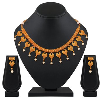 wedding designer gold plated choker style Necklace set for women