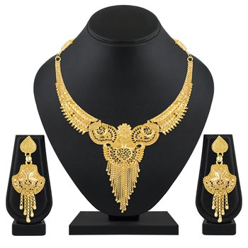 Traditional Designer 1 Gram Gold Plated Choker Necklace Set For Women And Girls