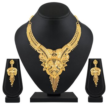 Attractive Traditional 1 Gram Gold Plated Choker Necklace Set For Women Or Girls