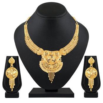 Beautiful Designer 1 Gram Gold Plated Choker necklace set for women