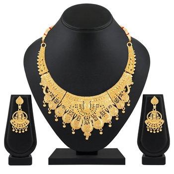 Wedding wear designer 1 Gram gold plated necklace set for women