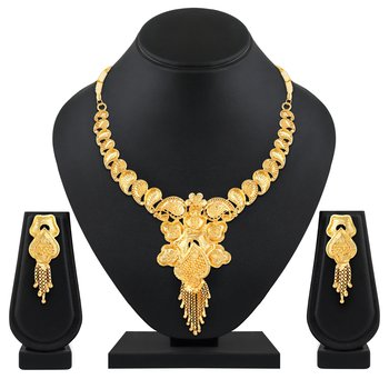 traditional 1 Gram Gold plated choker style necklace for women