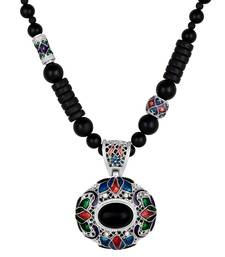 Lovely Black Beads And Multi Colour Matinee Style Necklace Women And Girls