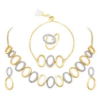 Alluring Party wear choker style fancy necklace set with Bracelet and Ring
