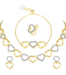 Alluring Party Wear Heart Shape Choker Style Fancy Necklace Set With Bracelet And Ring