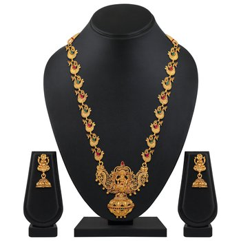 wedding wear opera style gold plated Temple necklace set for women