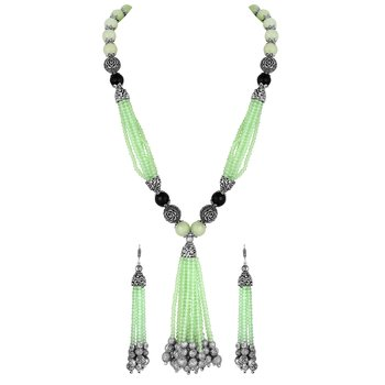 Party Wear Silver Plated Opera Style Green Beads Necklace Set For Women
