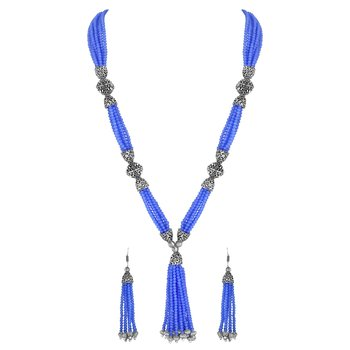 Fashionable Silver Plated Opera Style Bule Beads Necklace Set For Women