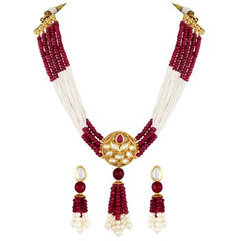 Attractive Gold plated Kundan Studded Necklace set for women