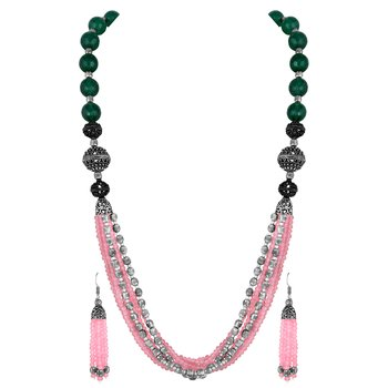 Fancy Party Wear Silver Plated Pink Beads Necklace Set For Women