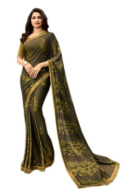 Mehndi printed georgette saree with blouse
