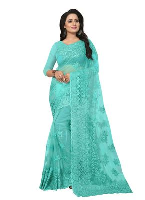 Aqua blue embroidered net saree with blouse