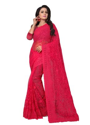 Dark pink embroidered net saree with blouse