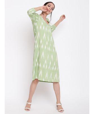 Green Print Neck-Gather Dress