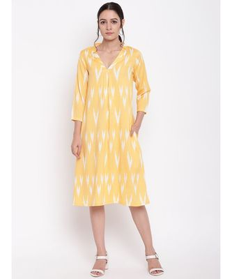 Yellow Print Neck-Gather Dress