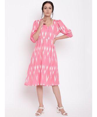 Pink Print Button Dress