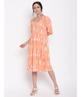 Orange Print Button Dress