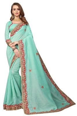 Aqua blue embroidered cotton silk saree with blouse